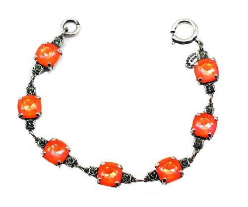 Catherine Popesco Old Silver Plated Link Bracelet with Tangerine Swarovski Crystals 75 * Click on the image for additional details.
