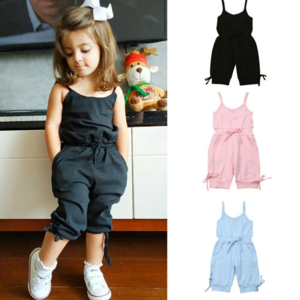 2019 Children Summer Clothing 1-6Y Toddler Baby Girl Solid Romper Bib Pants Sleeveless Romper Overalls Outfits Cropped Jumpsuits