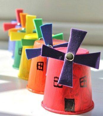 Okul öncesi Değirmen Sanat Etkinlikleripet Bardak Sanat