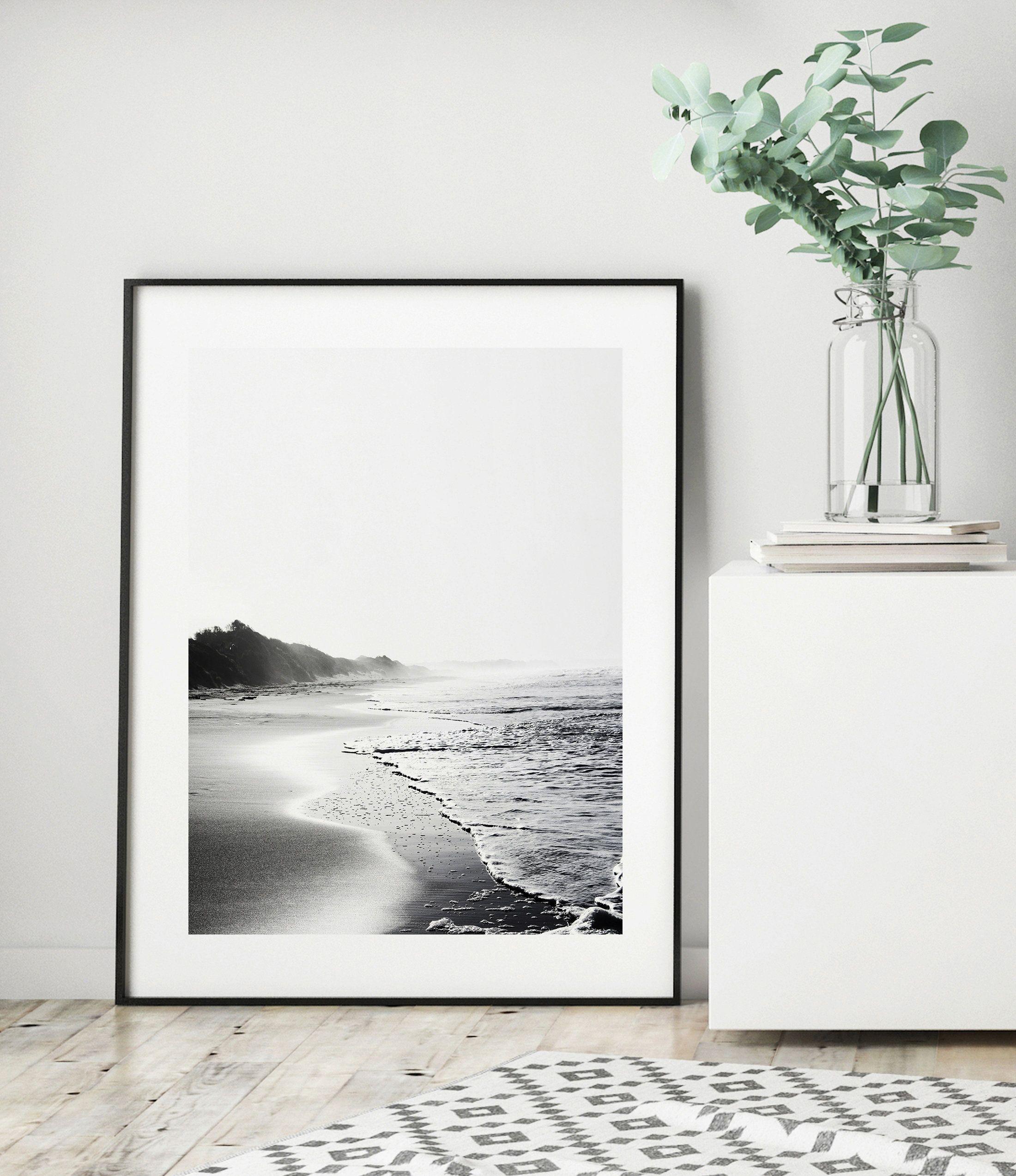 beautiful Black /& Whith sea /& sky Canvas Print Home Decor Wall Art 900x600mm