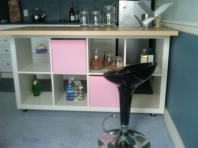 Kitchen Island Made From IKEA Expedit Bookcase