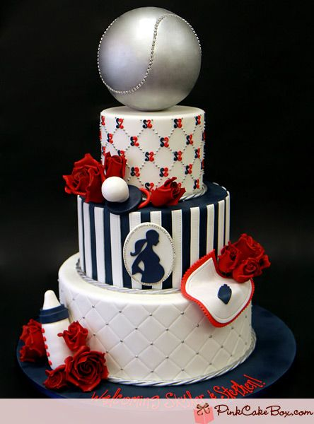Baby Shower Cake Idea. Just The Bottom Two Layers Without The Pregnant  Barbie Cameo.
