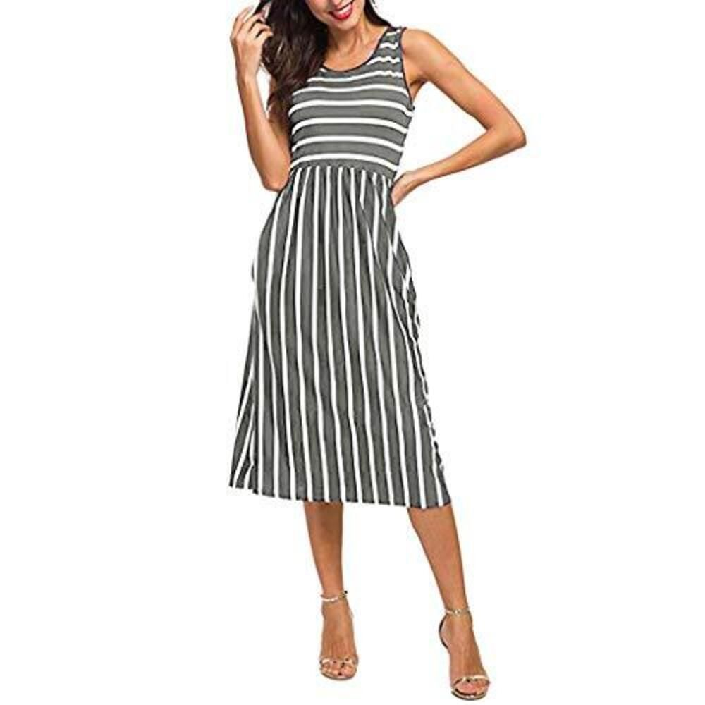Women Casual Vintage High Waist Pleated Striped Summer Sleeveless Midi Swing Dress With Pocket G Midi Dress Sleeveless Striped Dress Summer Midi Swing Dress [ 1000 x 1000 Pixel ]