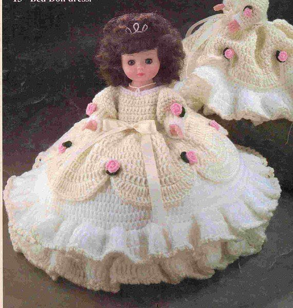 Vintage Crochet Pattern Cinderella Bed Doll Pillow Doll Tiered Rose Ballgown Dress PDF Instant Digital Download 13 Inch Dolls Outfit 10 Ply