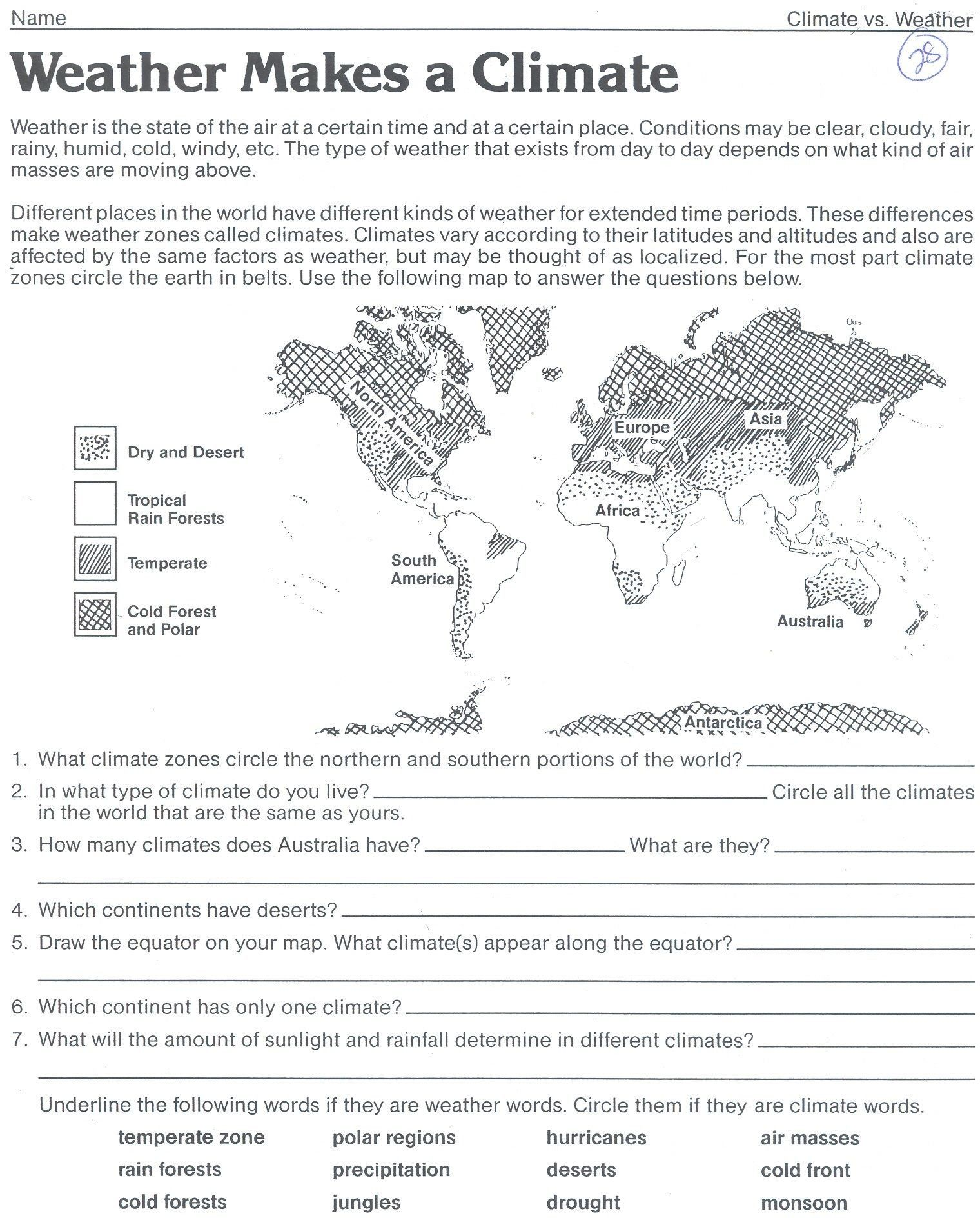Middle School Weather Worksheet Save Climate Zones