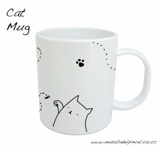 taza de gato realizada a mano cermica pintura porcelnica