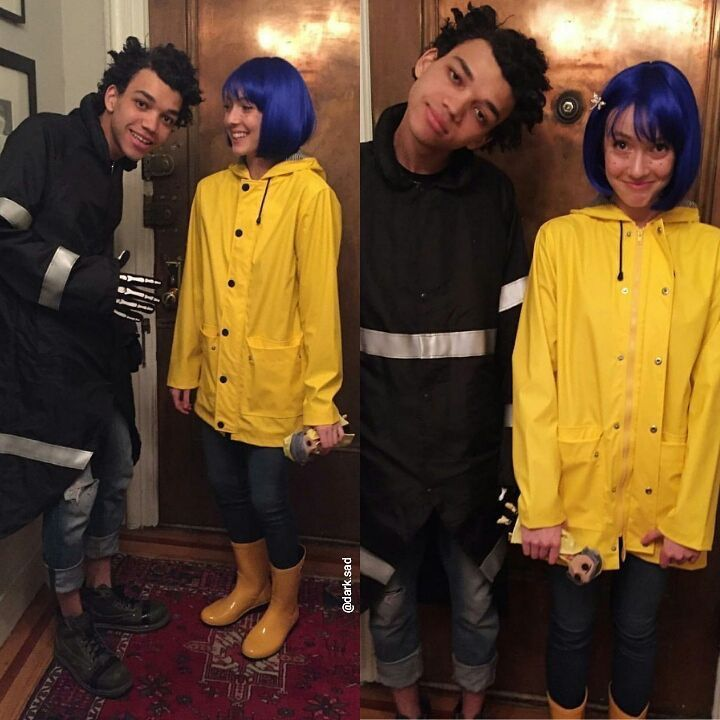 This Would Be Awesome And You Wouldnt Have To Wear A Wig You Could Just Use That Coloured Hairspr Coraline Halloween Costume Coraline Costume Halloween Outfits