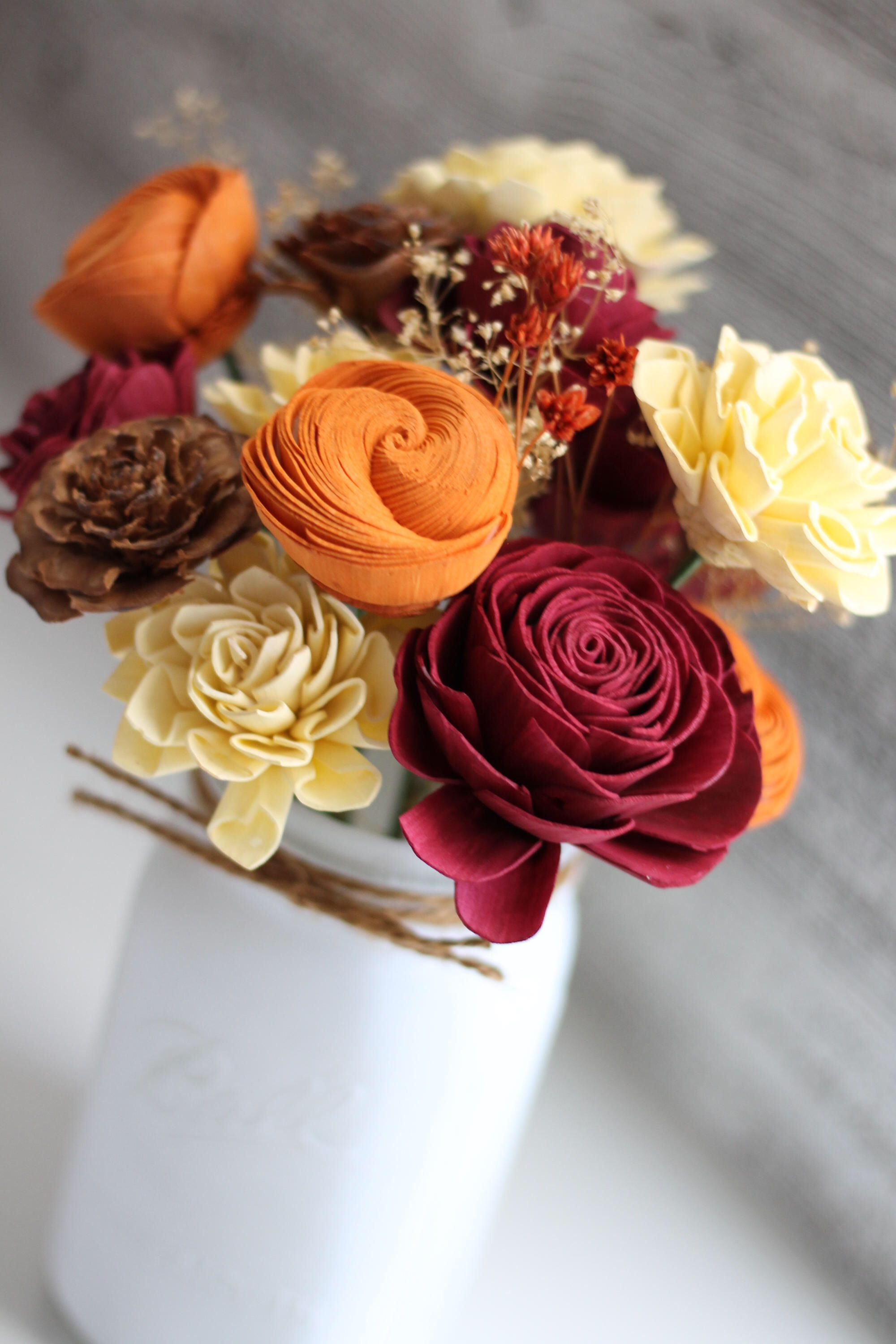 Fall wooden flower arrangement farmhouse flourish collection