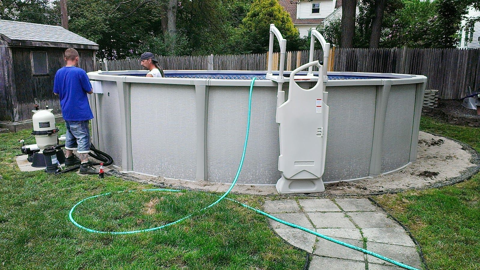 20ft Sharkline Matrix completed in West Roxbury, MA. http://www.abovegroundpoolbuilder.com/above-ground-pool-installation