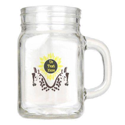 Dark Giraffe and Bright Sun Monogram Mason Jar - monogram gifts unique custom diy personalize