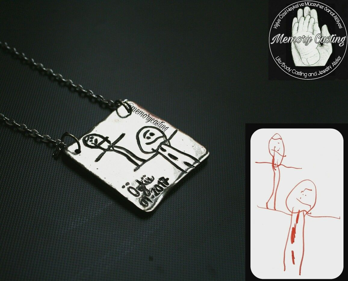 Kids art necklase. Jewelry Memory Casting