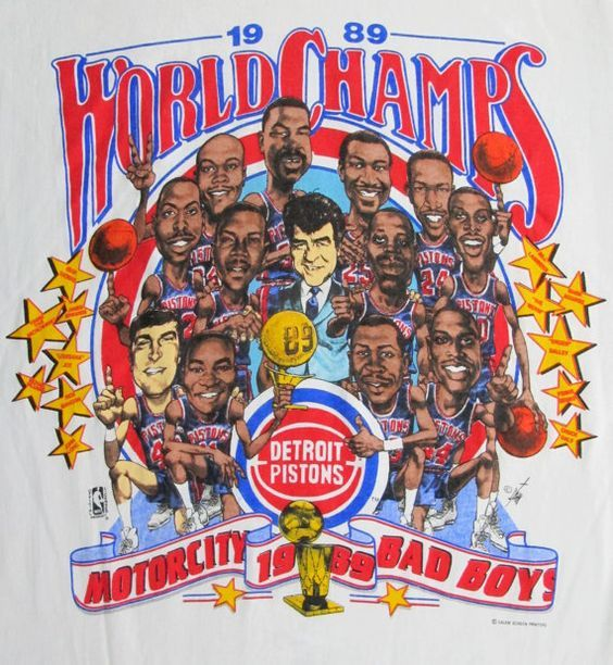 Vintage Detroit Pistons Nba Champions Caricature T Shirt 1989 Detroit Pistons Bad Boys Pistons Basketball Detroit Basketball
