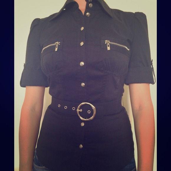 Button down shirt Black button down collar top. It includes a matching belt. bebe Tops Button Down Shirts