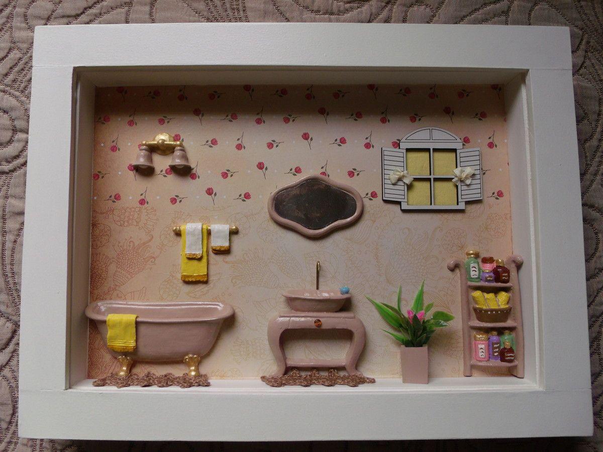 Artesanato Ucraniano Em Curitiba ~ Cenário de banheiro n u00ba 2 Mais ideias sobre Madeira mdf, Resina e Miniatura