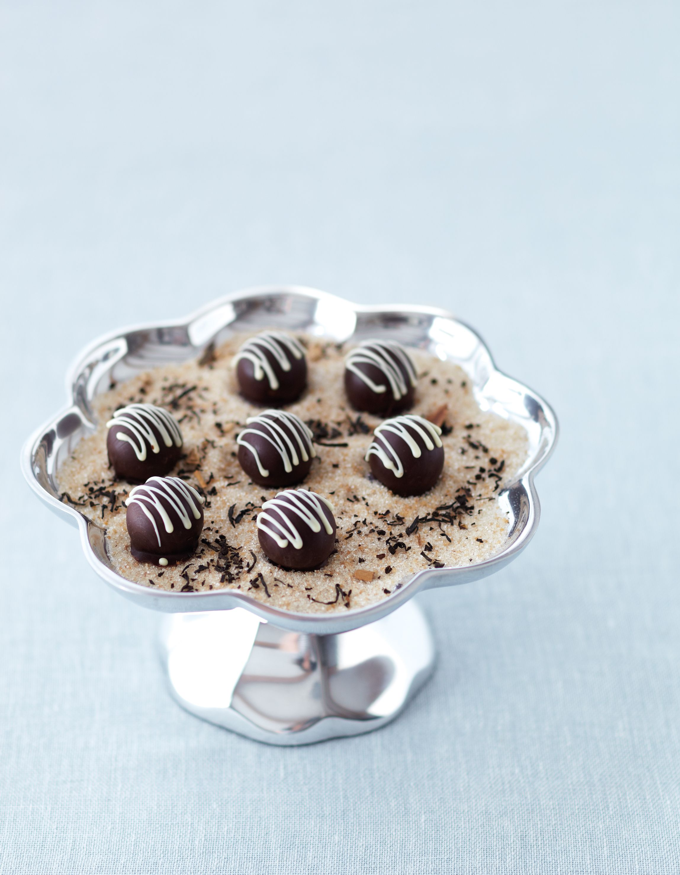 This recipe comes to us from Natasha MacAller, from her book Vanilla Table--The essence of exquisite cooking from the world's best chefs.   Pepper, spice and vanilla-infused cream with milk chocolate – a truffle for now, and one for later!