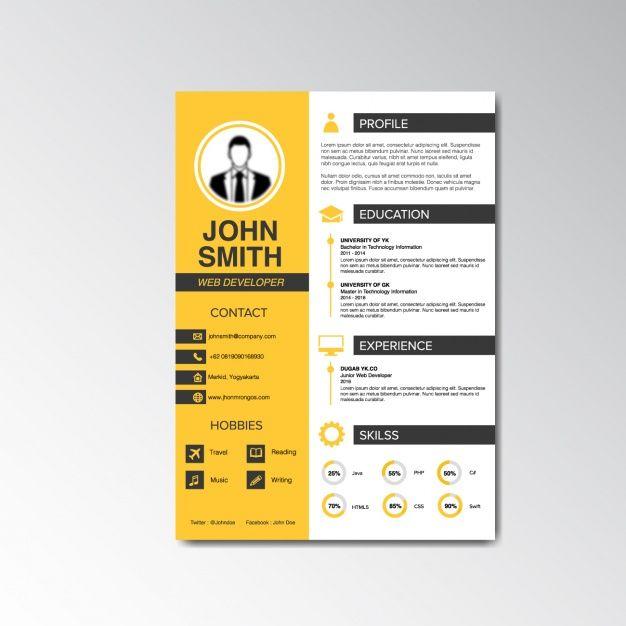 Curriculum vitae design Free Vector | Resume | Pinterest | Diseños ...