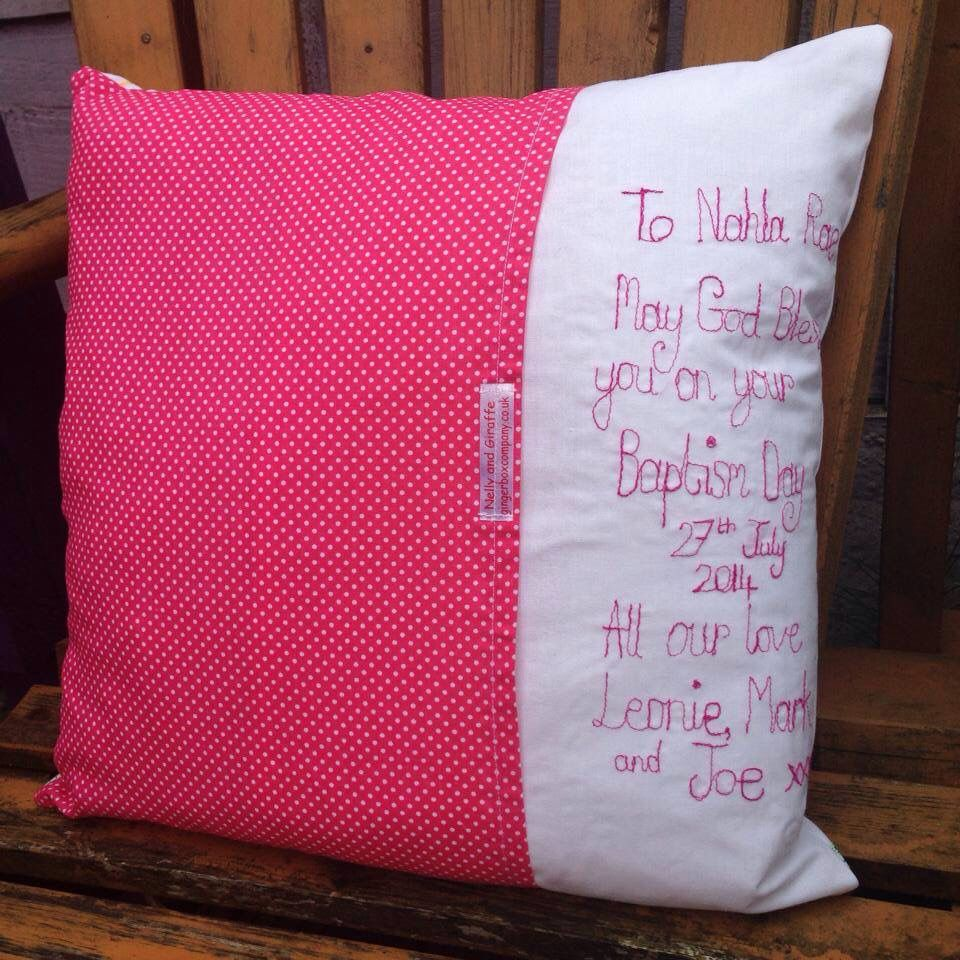Personalised nelly and giraffe cushion   Gingerboxcompany is my ...