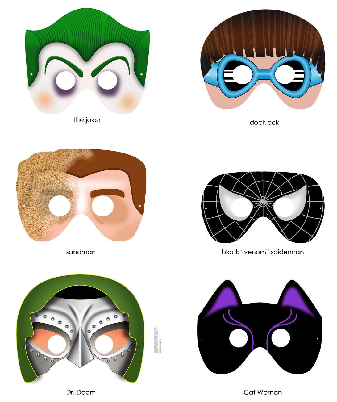 8 superhero masks printable pdf files craft project for Joker mask template