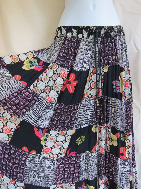 90s Patchwork Boho Gypsy Peasant Skirt // Extra Long Flowing Skirt // Mori Girl, Belly Dance Fusion, Hippie Grunge Style Festival Fashion -- Peasant skirts rock, total summer fashion must-have!