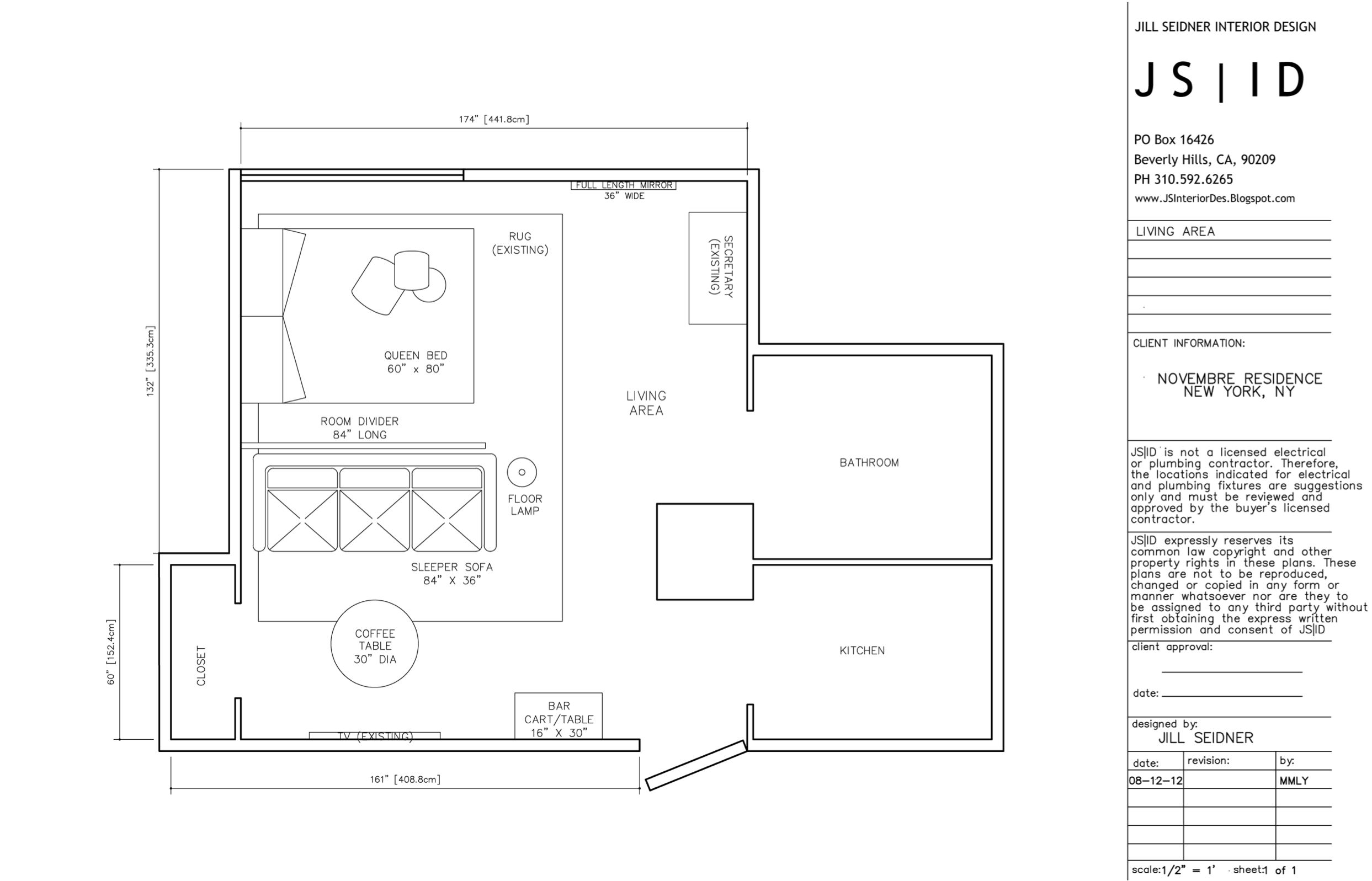 NYC, NY Online Design Project, Studio Apartment Furniture