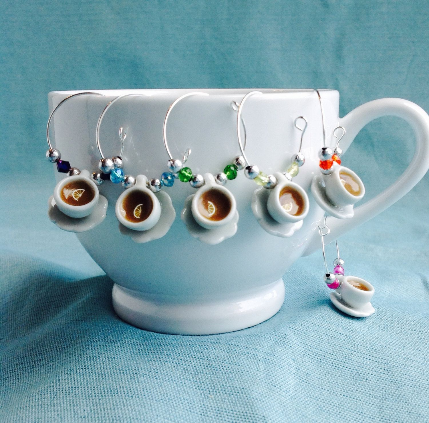 6 X MAKE YOUR OWN WINE GLASS//TEACUP MUG CHARMS ALICE IN WONDERLAND THEME