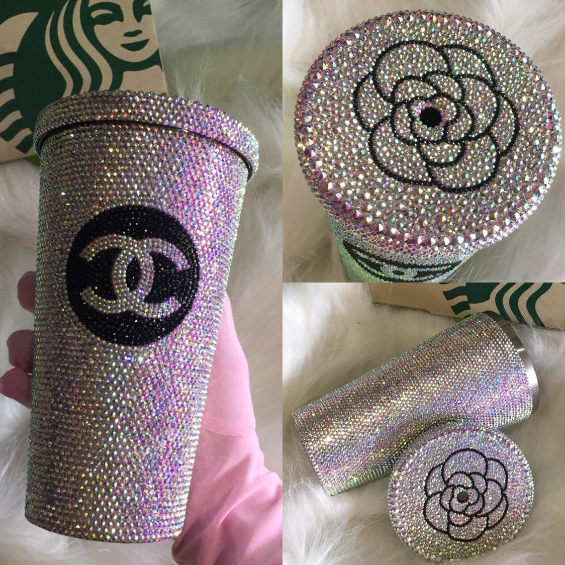 Swarovski Crystal Starbucks Cold Hot Cup Mug Customized Etsy Rhinestone Crafts Custom Starbucks Cup Custom Cups