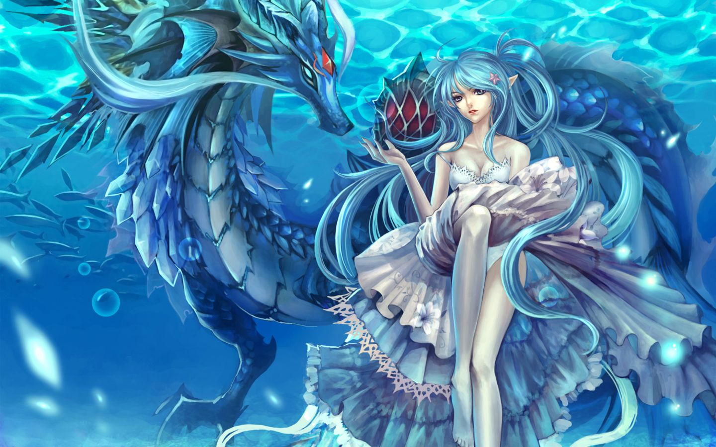 anime dragon  Water dragon, Cross paintings, Dragon girl