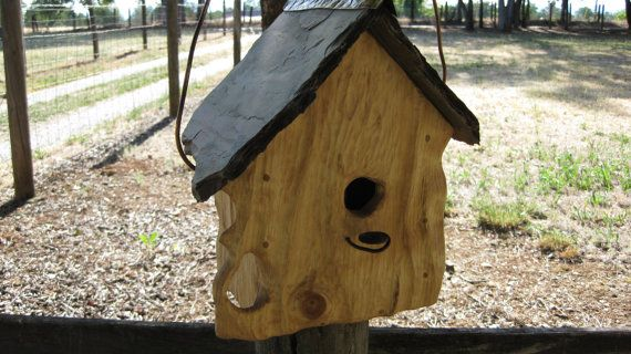 This Is A Beautiful Unique And Rustic One Of A Kind Hand Crafted Birdhouse It Is Sculpted Pine With A Slate Roof A Bird Houses Birdhouses Rustic Slate Roof