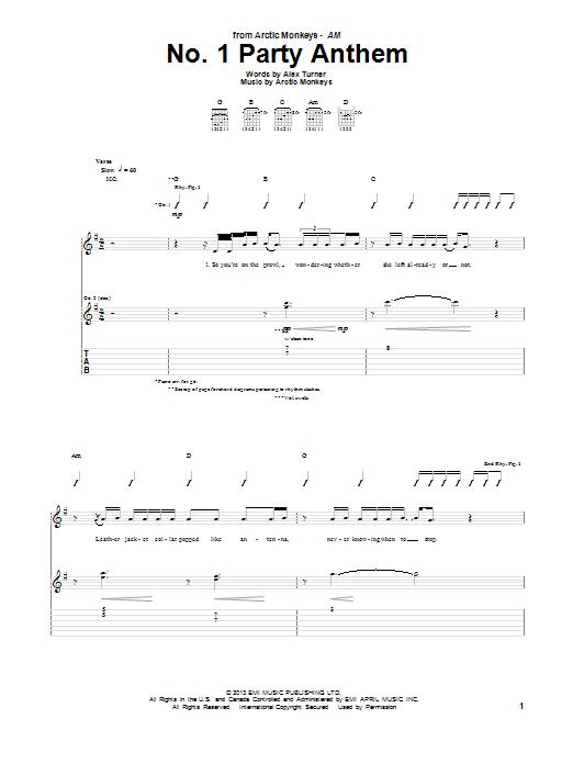No 1 Party Anthem Partituras Arctic Monkeys Partituras Guitarras