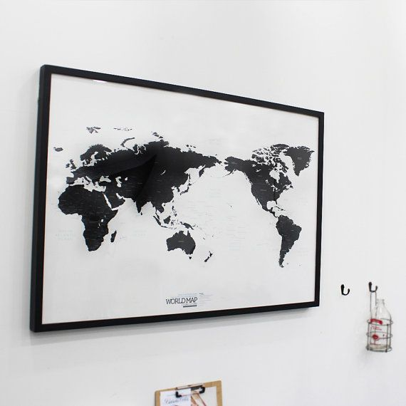 Black And White World Map Framed.Black And White World Map Simple Is The Best Draw Your Dreams Around