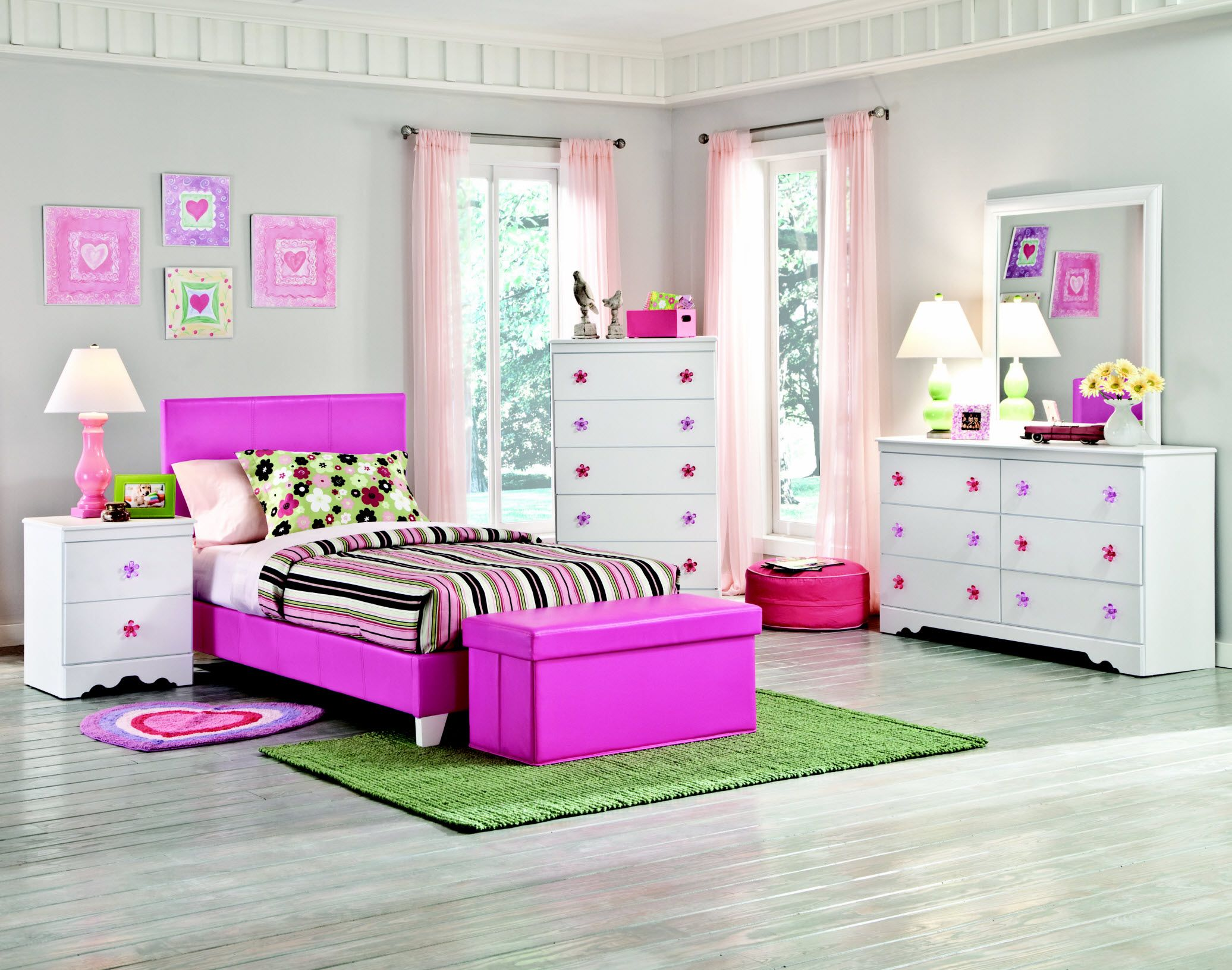 Bedroom ideas for girls purple - Design Ideas For Modern Gray Girls Bedroom With Cute Purple Wood Bed Frame That Have Line