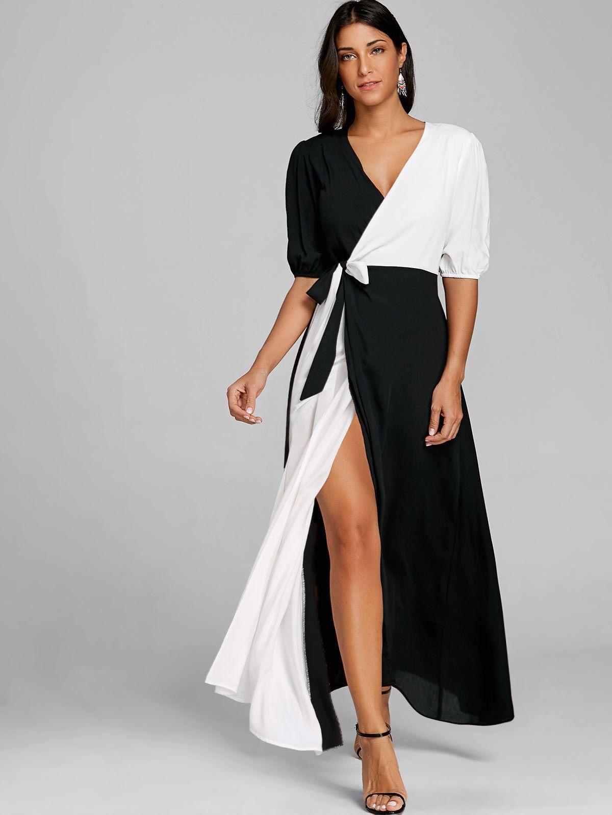 women hot sleeve high slit maxi dress sxl color block