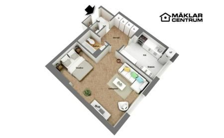 44m², pocos muebles y mucho espacio de almacenaje