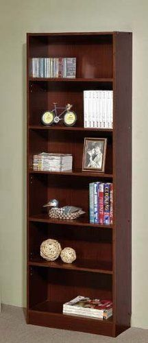 """6-Tier Bookcase Contemporary Casual Style in Walnut Finish by Poundex. $80.01. Some assembly may be required. Please see product details.. Dimension: 24""""W x 11""""D x 72""""H Finish: Walnut Material: Wood 6-Tier Bookcase Contemporary Casual Style in Walnut Finish This is a brand new 6-tier bookcase in walnut finish. Item features six shelves for your storage needs. Assembly required.. Save 65%!"""