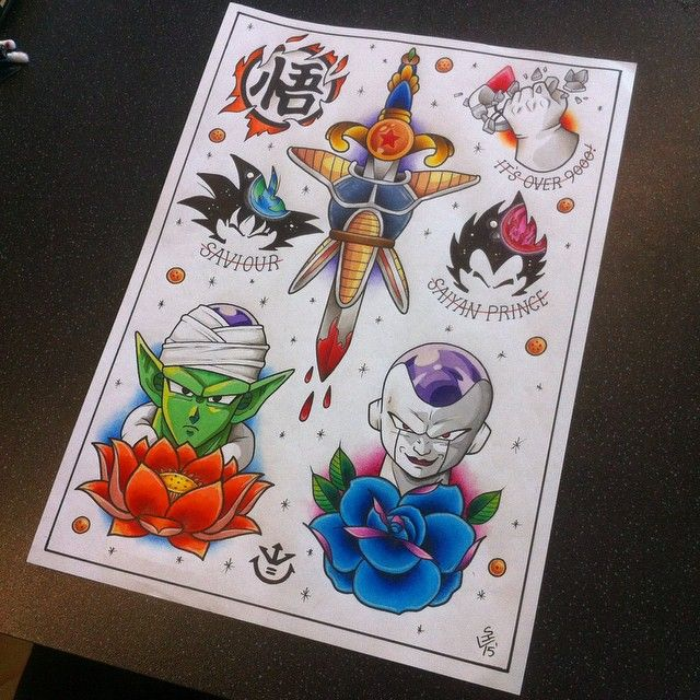 Dragon Ball Z Tattoo Flash Sheet Z Tattoo Tattoo Flash Sheet Dbz Tattoo