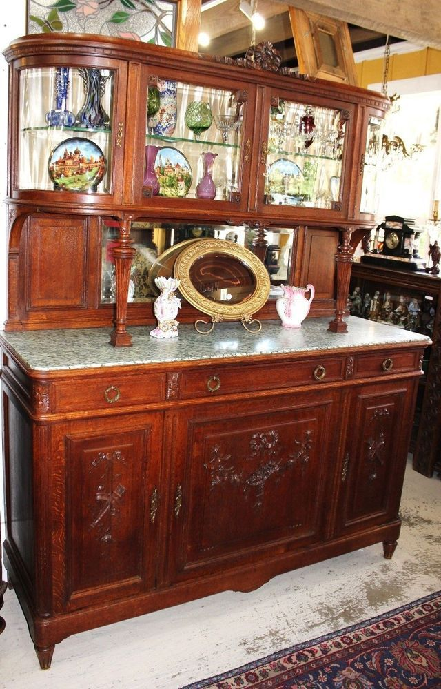 Exquisite French Antique Carved Oak Louis XVI Marble Top Bar ...