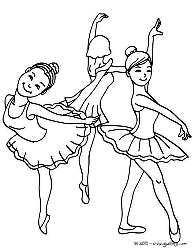 Dibujo Para Colorear Grupo De Bailarinas Ensayando Durante La