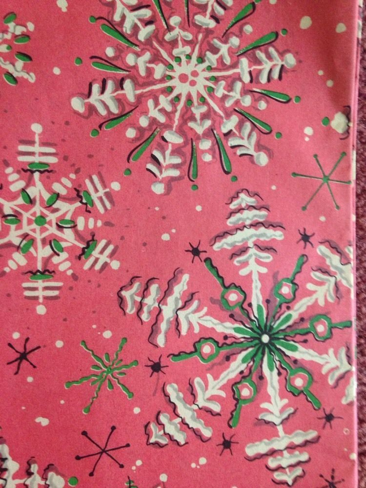 vintage christmas wrapping paper unused gift wrap munson pink snowflakes