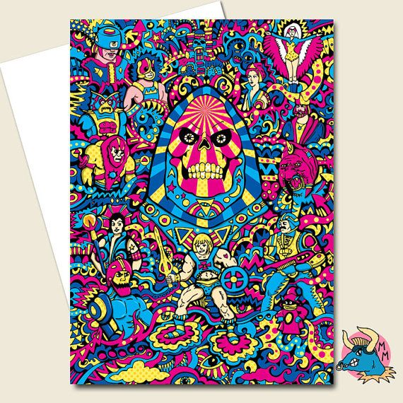 He-man MOTU Funny Masters of the Universe Greeting Card Skeletor Birthday Card