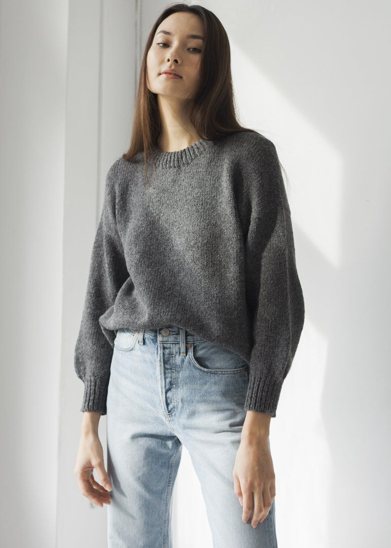 Bare Knitwear Classic Crew Charcoal on | FALL FLAIR in