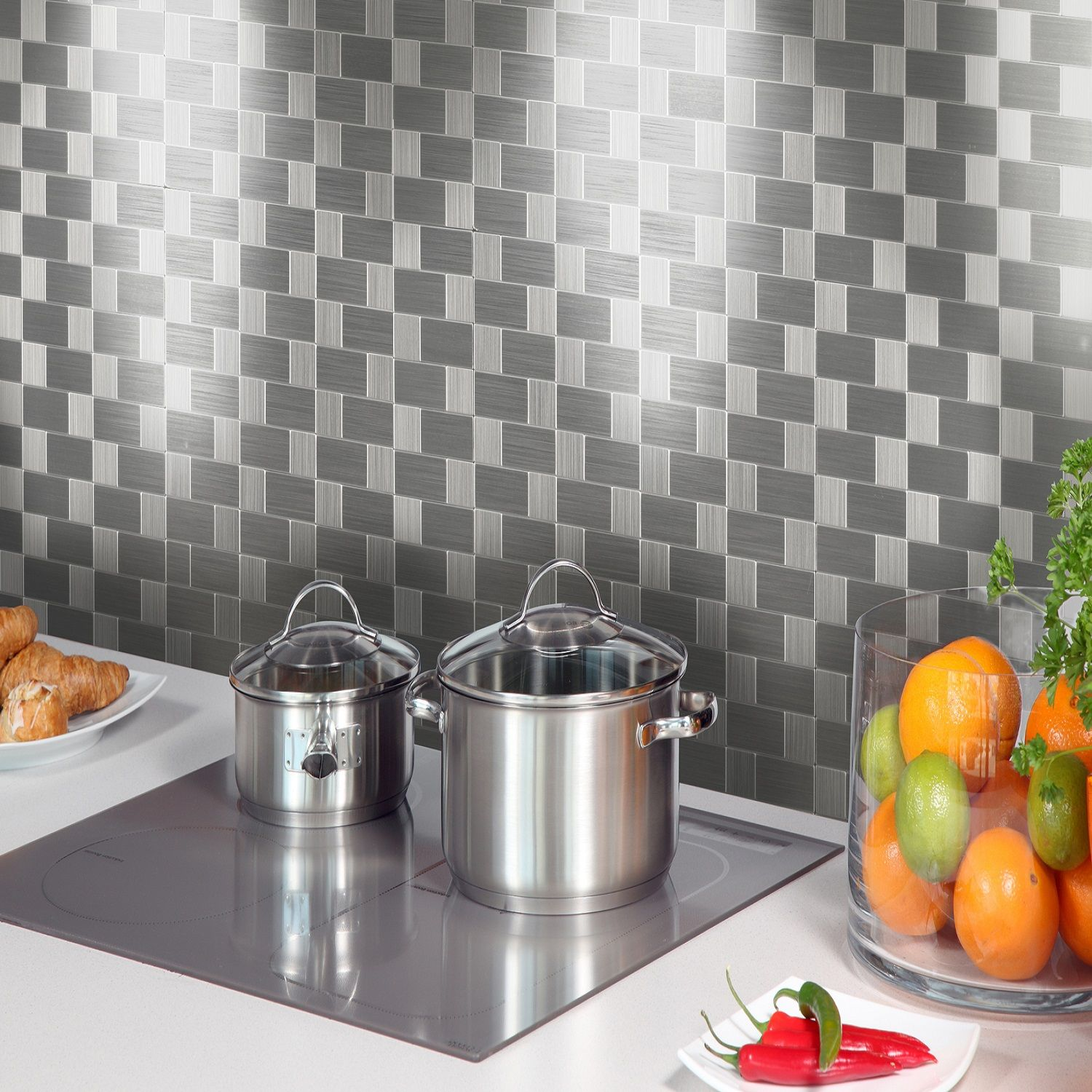 Metal Kitchen Wall Tiles Metal Mosaic Wall Tile 12inx12inx4mm 03110 Kitchen And Bath