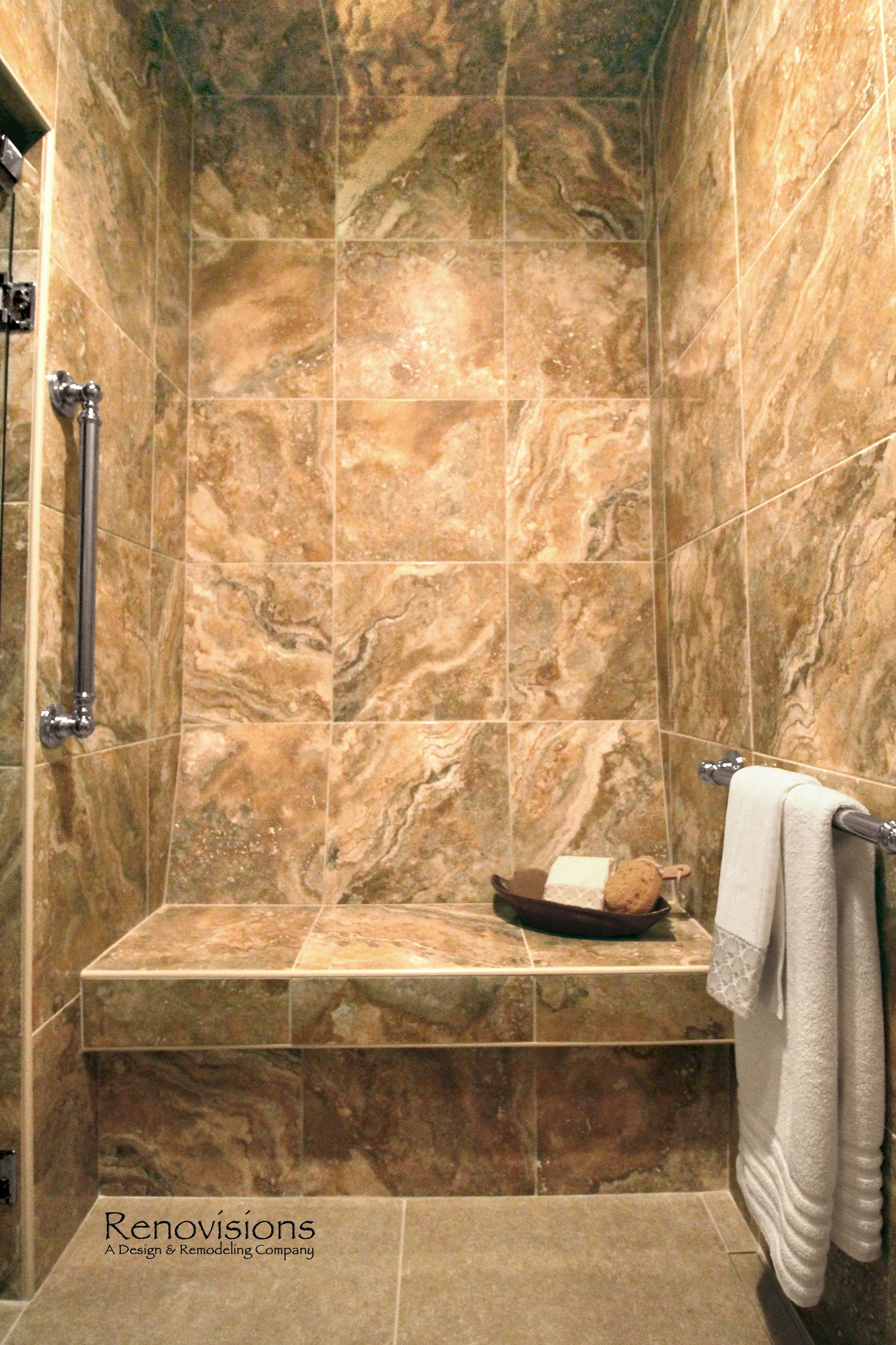 Master bathroom remodel by Renovisions Tile shower bench seat