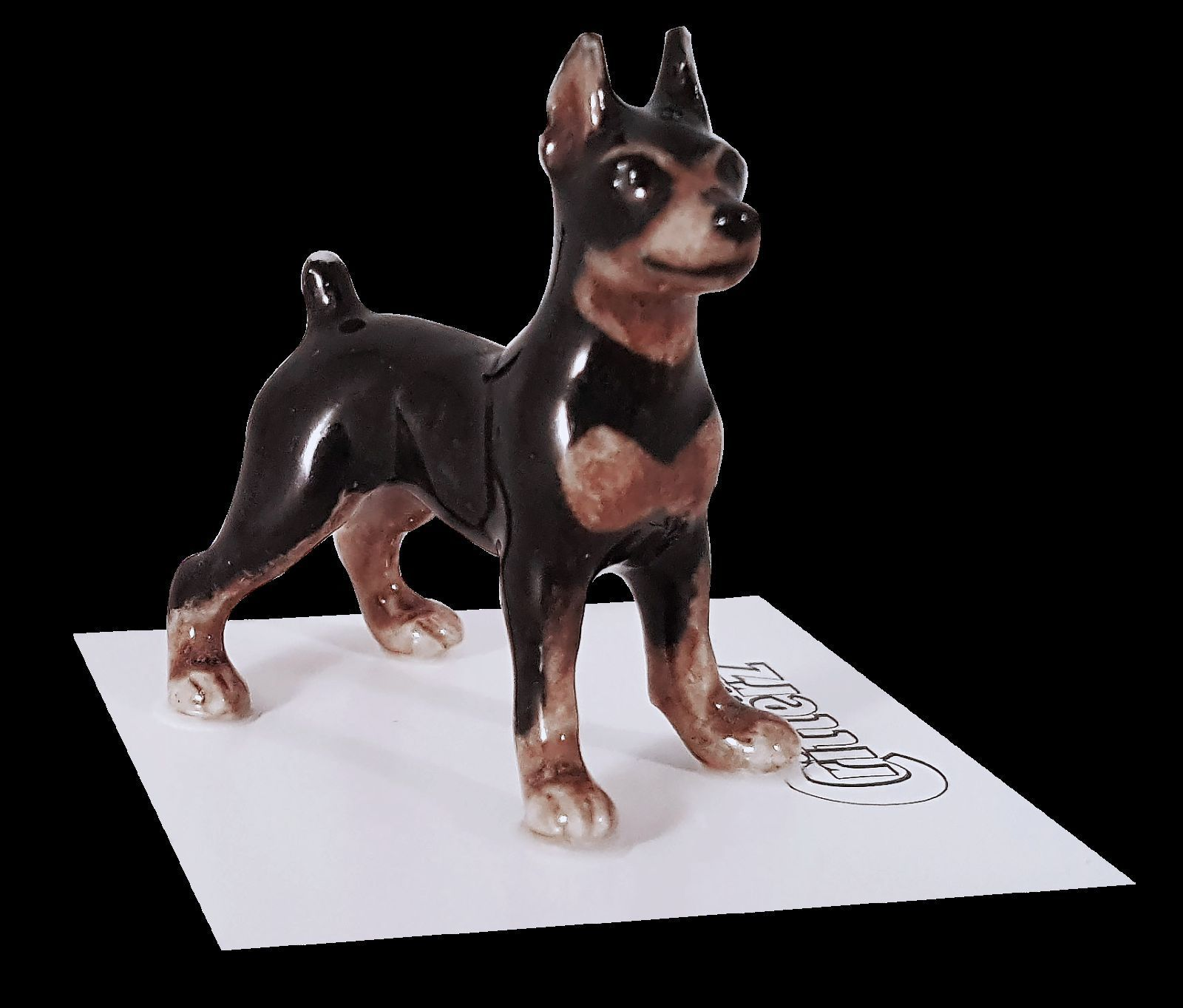 STAFFORDSHIRE BULL TERRIER dog FIGURINE resin HAND PAINTED MINIATURE Small Mini