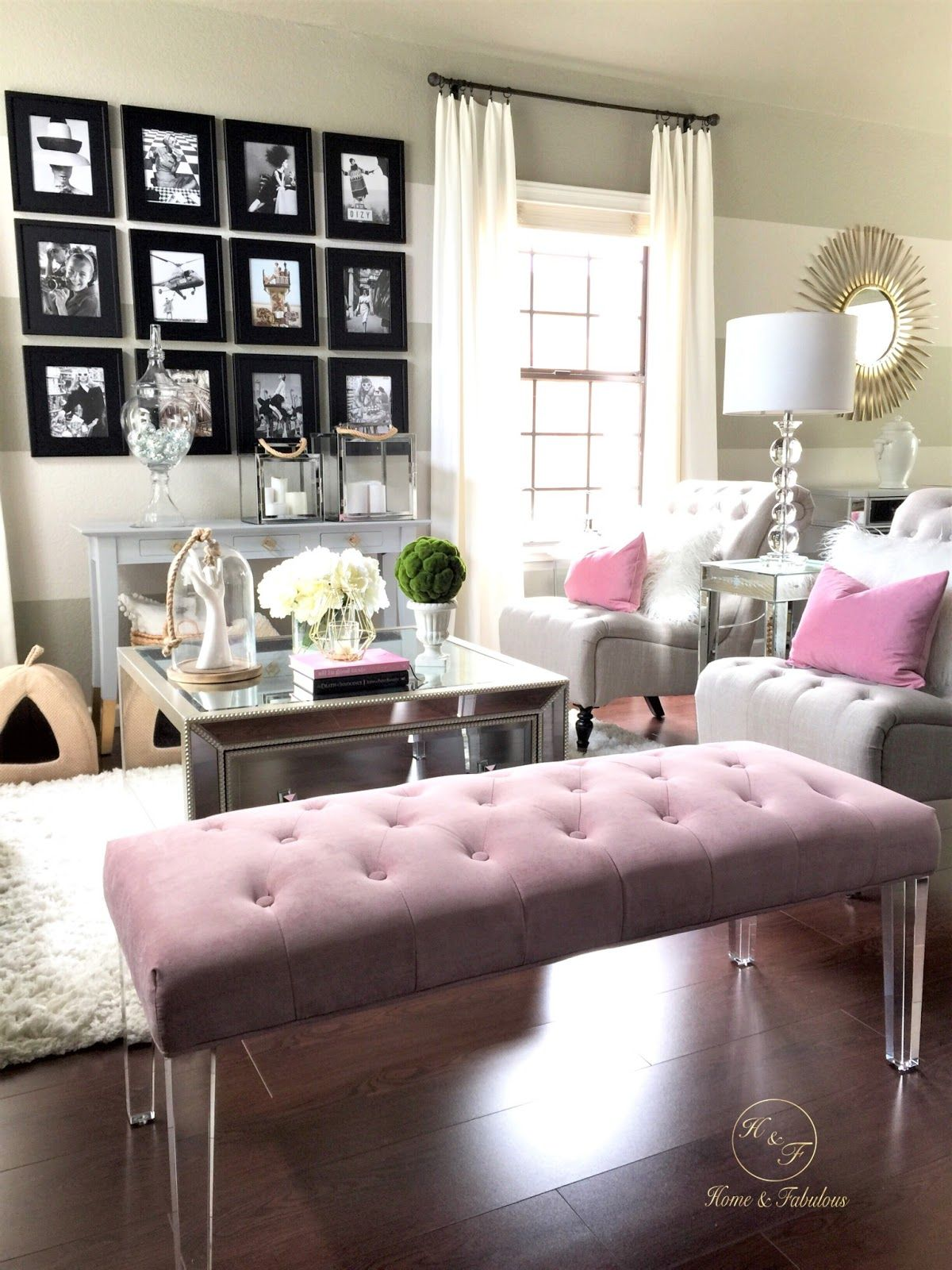 How One Couch Inspired A Living Room Transformation Homegoods Glam Living Room Living Room Transformation Living Room Bench