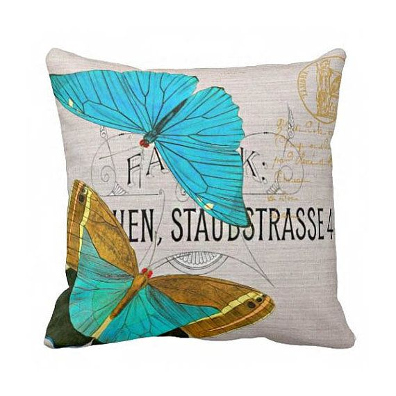 Pillow Cover Springtime Blue Butterfly Cotton and Burlap Pillow Cover