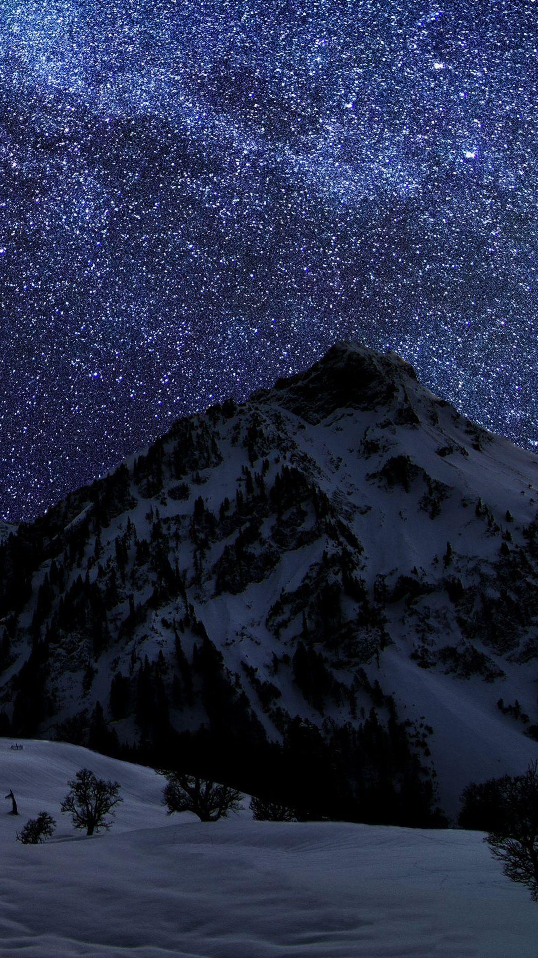 Snow Mountain Night Sky Stars android wallpaper HD Night