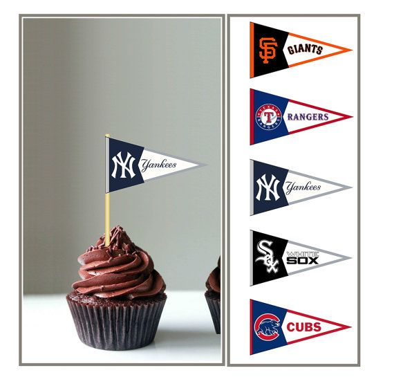 NEW YORK YANKEES Baseball Cupcake Toppers By