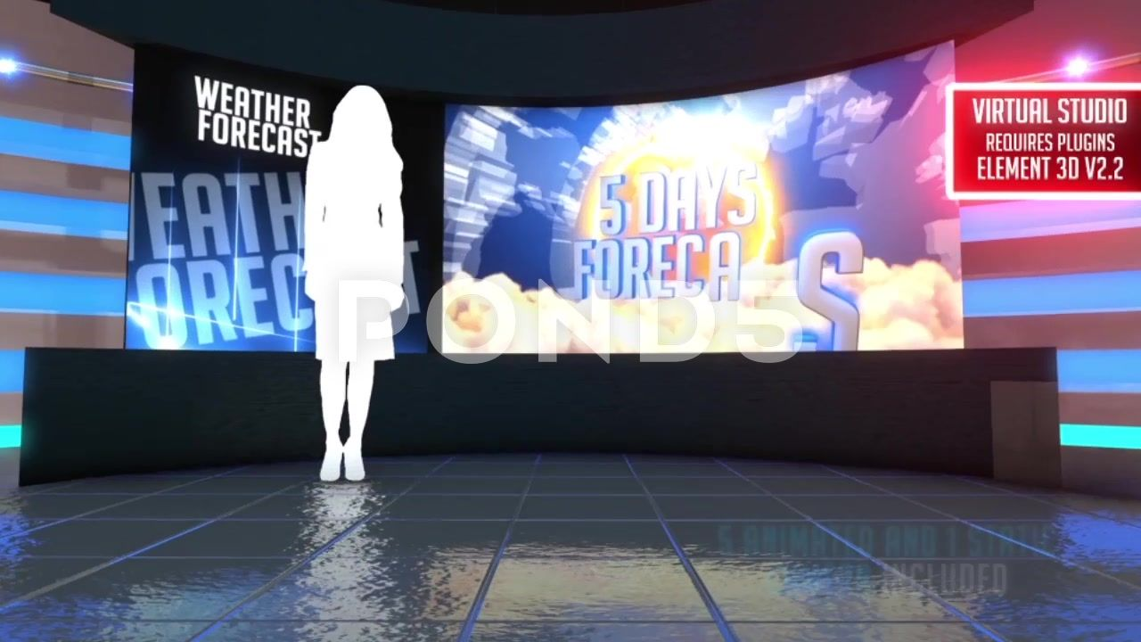 Weather Forecast Broadcast Package - Virtual Studio - Element 3D