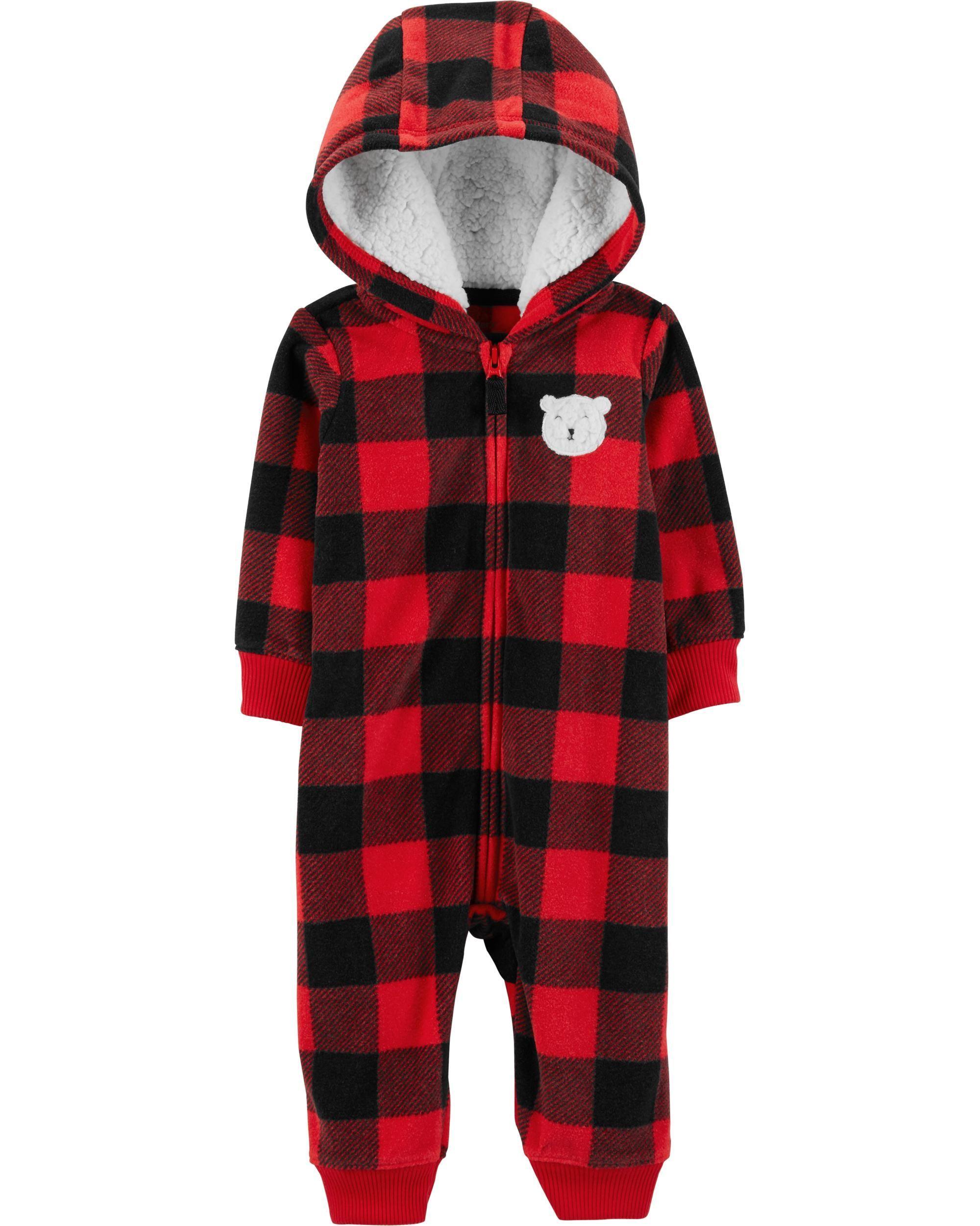 a24f8c77081e Baby Boy Buffalo Check Zip-Up Fleece Jumpsuit