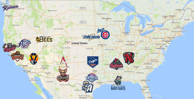 2019 Pacific Coast League Map | Baseball | Minor league